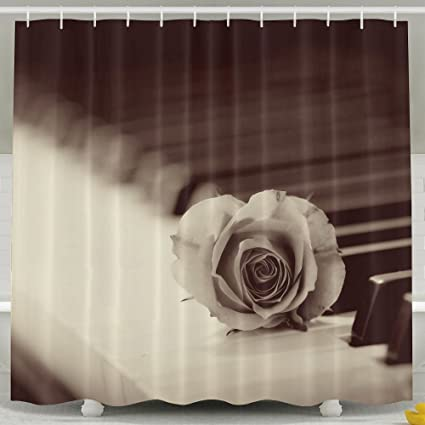 MdsdWXza Rose Piano Wallpaper Elegant Fashion Shower Curtain Deluxe Waterproof Bath