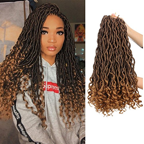 Goddess Faux Locs Crochet Hair Braids Wavy Synthetic Braiding Hair Deep Wave Curly Ends Loc Hair Extension New Style Fashion and (Blonde Goddess)