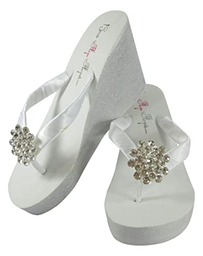 d6c23440cf794 Amazon.com: White Silver Glitter Wedge Jewel Wedding Bridal Flip ...