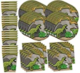 Roaring Dino T-Rex Dinosaur Birthday Party Supplies Set Plates Napkins Cups Tableware Kit for 16 by Birthday Galore