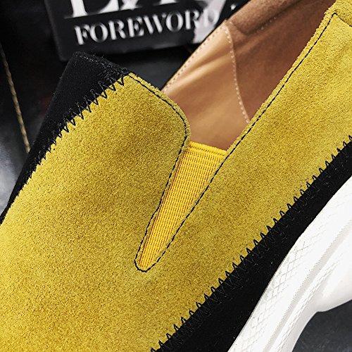 KJJDE Bande 34 Coutures Q1418 Yellow À Couleur Semelles Coins De Élastique WSXY Chaussures Femme De Plateformes qx1vZwraq