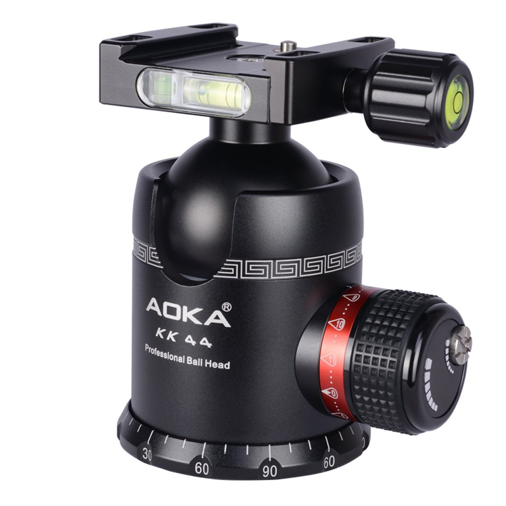 AOKA tripod ball head 360 degree fluid rotation panoramic alluminium alloy heavy duty ballhead KK44 tripod head with quick release plate by AOKA (Image #2)