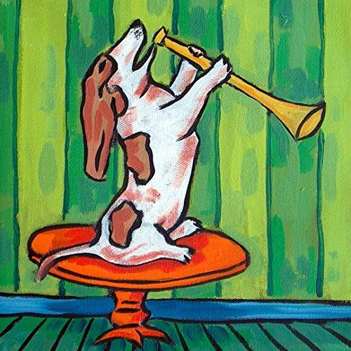 Basset Hound dog playing horn dog art tile coaster gift
