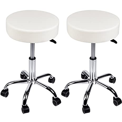 Hydraulic Massage Stools With Wheels Set Of 2 Adjustable Rolling Spa Salon  Stool White