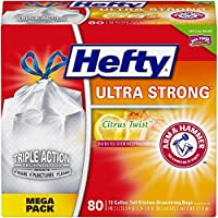 Hefty Ultra Strong Trash/Garbage Bags (Citrus Twist, Odor Control, Kitchen Drawstring, 13 Gallon, 80 Count)