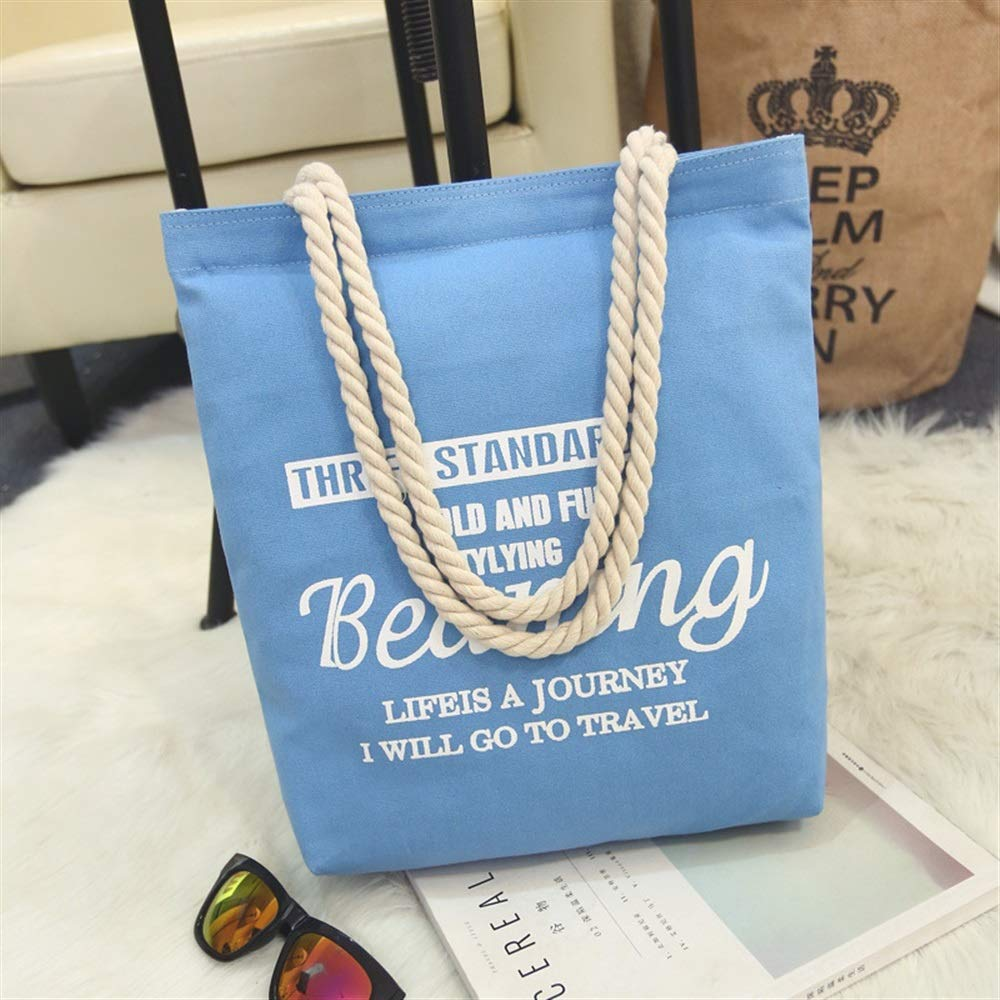 WHXYAA Beaning Printed Canvas Bag Shoulder Bag Tote Bag Ladies Large-Capacity Shopping Bag Blue Simple Atmosphere