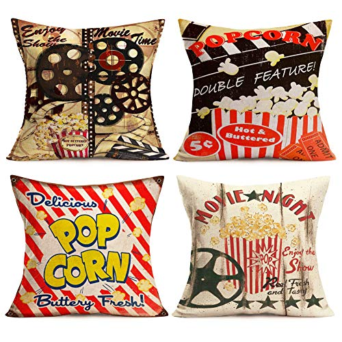 Asamour Vintage Family Movie Theater Pillow Covers Cinema Theme with Popcorn,Filmstrip,Clapper Board Pattern Cotton Linen Sofa Couch Decor Cushion Covers 18x18 Inch Square Accent Pillow Case Set of 4]()