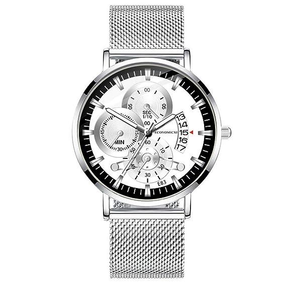 Yivise Moda para Hombre Reloj Simple Cinturón de Malla Caja de ...