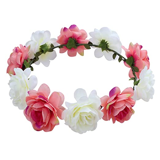 Image Unavailable. Image not available for. Color  FEESHOW Women Flower  Girls Headband Crown Wedding Bridal Hair Wreath Floral ... 678ef86835f