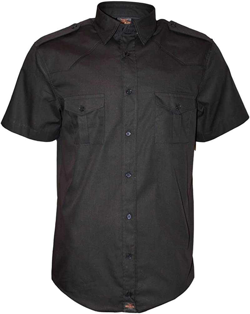 ROCK-IT Apparel® Camisa de Hombre de Manga Corta Camisa de los Estados Unidos con Aspecto Militar Camisa Worker de Tiempo Libre Fabricada en Europa Tallas S-5XL