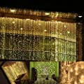 Neretva Window Curtain Icicle Lights, 600 LEDs String Fairy Lights, 19.68FTx9.84FT, 8 Modes Linkable , Icicle Fairy Lights for Christmas Party Wedding Home Patio Decorative Lights