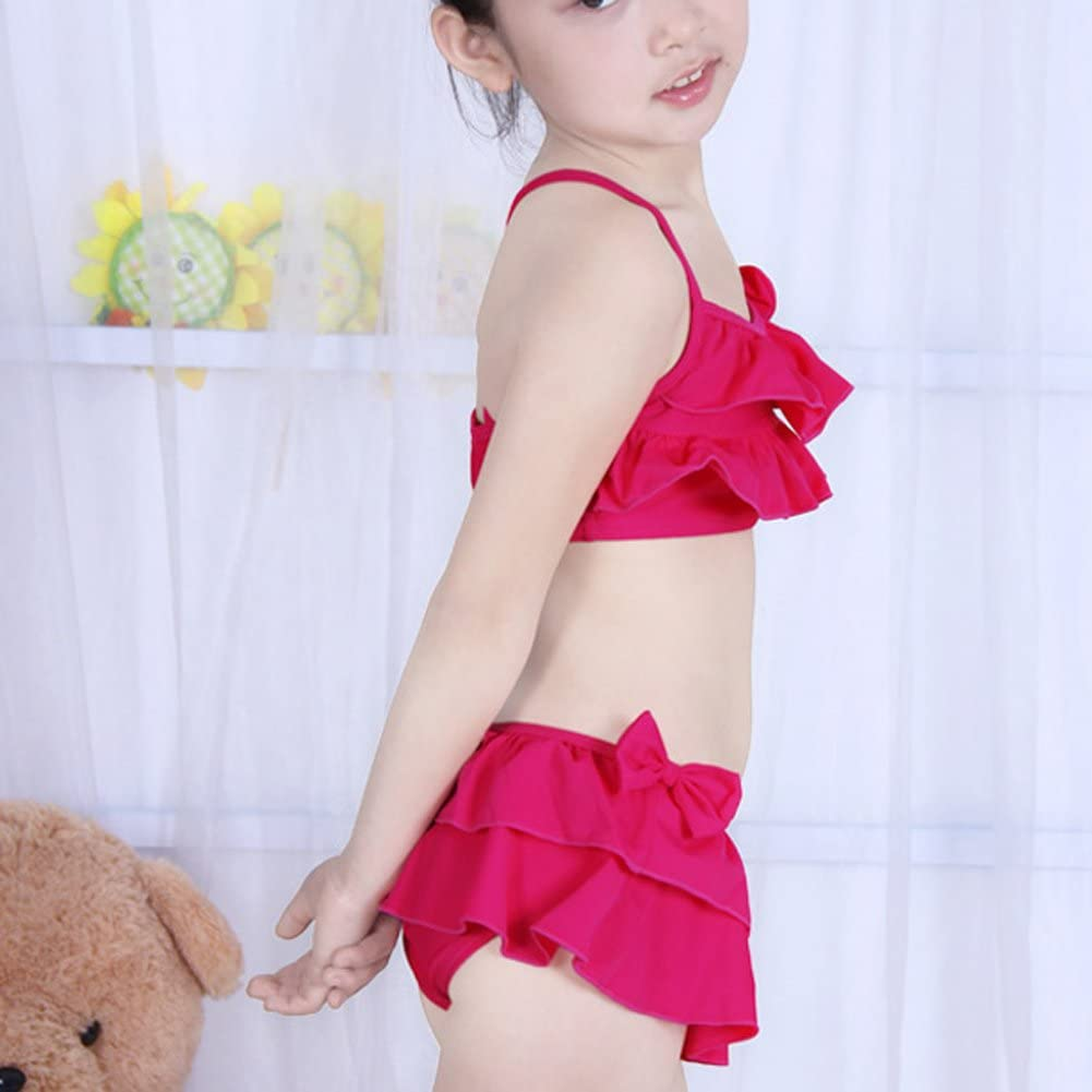 Little Girls Two Piece Cute Flouncing Swimsuits Rose Red