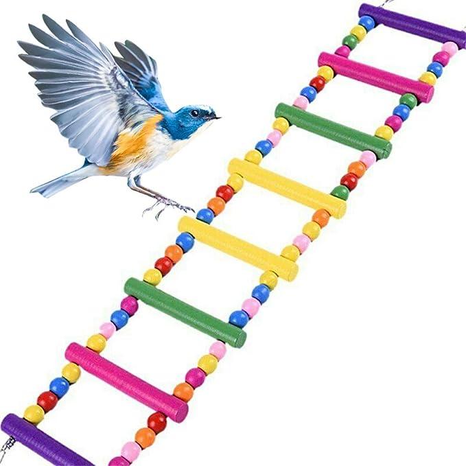 LQKYWNA Loro Escalera Bolas De Madera Que Sube La Escala Pigmentos Comestibles Escalada Escalera Puente Derecho De Juguete para Parakeet De Budgie ...