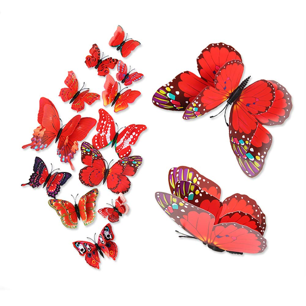 Hot Sale!DEESEE(TM)🌸🌸3D DIY Wall Stickers Fridge Magnet Home Decor Butterfly Stickers Room Decor (Hot Pink)