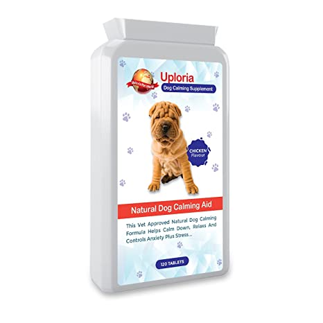 Uploria Pet World Comprimidos Calmantes para Perros 120 Comprimidos con Sabor A Pollo Relajante De Acción