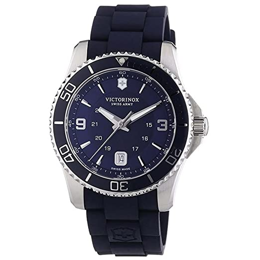 Victorinox Maverick - Reloj de Cuarzo para Hombre, con Correa de Goma, Color Azul: Amazon.es: Relojes