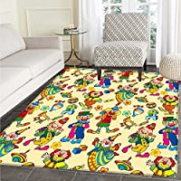 Nursery Area Silky Smooth Rugs Circus Carnival Artful Festive Pattern Dancing Characters Toys Clowns Entertainment Home Decor Area Rug 4'x5' Multicolor