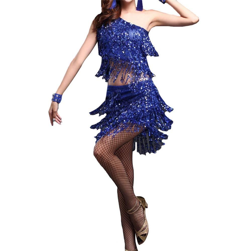 Bleu X-grand KANGJIABAOBAO Robe de Danse Femme Femmes Sequin Tassel Robe De Danse Latine Outfit Une épaule Débardeur avec Jupe Danse Formation Ballroom Dancewear Perforhommece Costume Robe de Danse