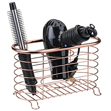mDesign Metal Wire Hair Care & Styling Tool Organizer Holder Basket - Bathroom Vanity Countertop Storage Container for Hair Dryer, Flat Irons, Curling Wands, Hair Straighteners - Rose Gold