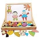 Magnetic Puzzle Wooden Travel Parent-Child Easel Dry Erase Chalkboard Toy Kids Imagination
