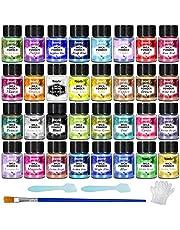 Micapoeder - 32 kleuren epoxyharspigment, natuurlijke zeepkleurstof, metallic poederkleurstof voor het maken van sieraden, badbommen, kaarsen, nageldecoraties (5 g per fles)