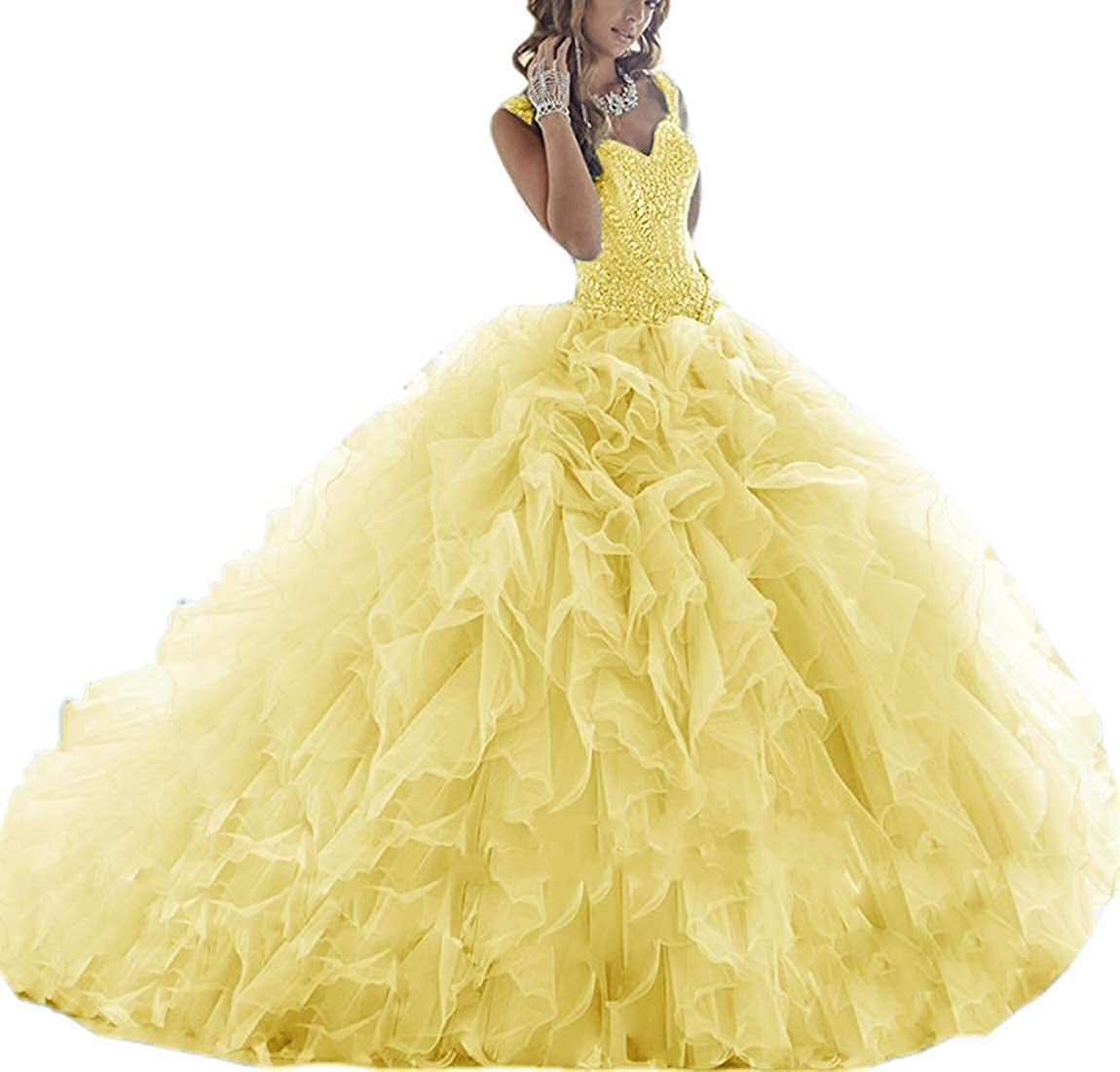 Yellow ASBridal Quinceanera Dresses Long Prom Party Dress Sweet 16 Crystals Beads Formal Ball Gowns Orangza