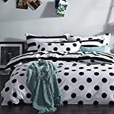 FADFAY Black and White Duvet Cover Set 100% Cotton Black and White Polka Dot Bedding Twin