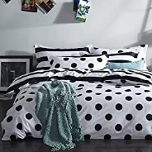 FADFAY Black and White Duvet Cover Set 100% Cotton Black and White Polka Dot Bedding Queen