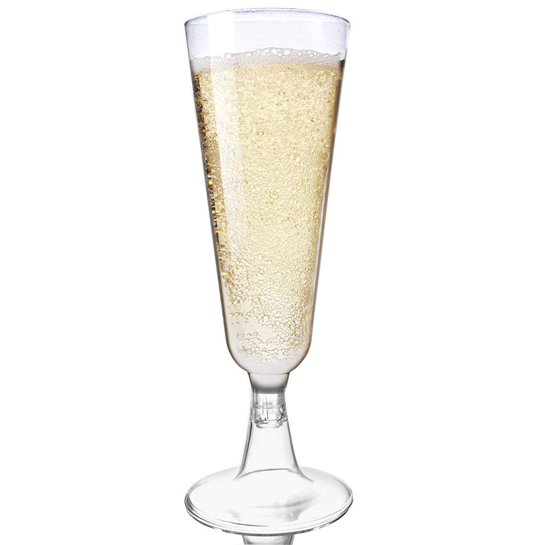 48 Copas Flauta para Champagne 150ml, Elegante Transparente Plástico Duro - Inastillable - Desechable Reutilizables