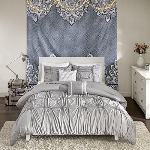 Intelligent Design Benny 4 Piece Metallic Elastic Embroidery Comforter Set Teen Bedroom Bedding, Twin/Twin XL Size, Gray