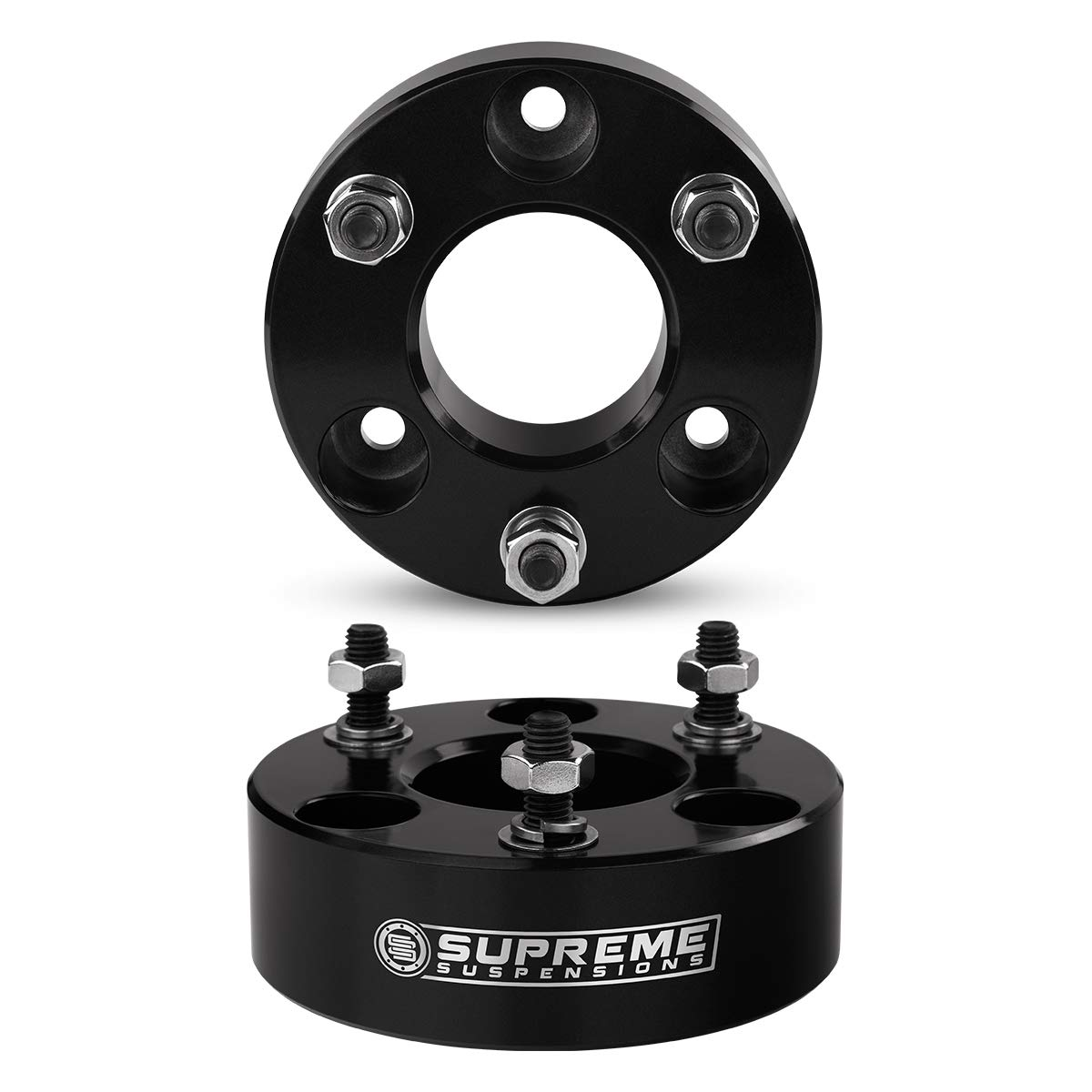 Supreme Suspensions PRO Black and Silver Full Leveling Kit for 2009-2012 Dodge Ram 1500 3.5 Front and 2 Rear Max Leveling Lift Kit 4WD T6 Aircraft Billet