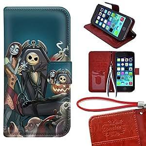 iPhone 5 Caso Monedero Funda, Twodee - Pesadilla antes de Navidad Caso premium PU Funda carpeta del tirón del caso del soporte de la cubierta Funda para iPhone 5 5s con ranuras para tarjetas
