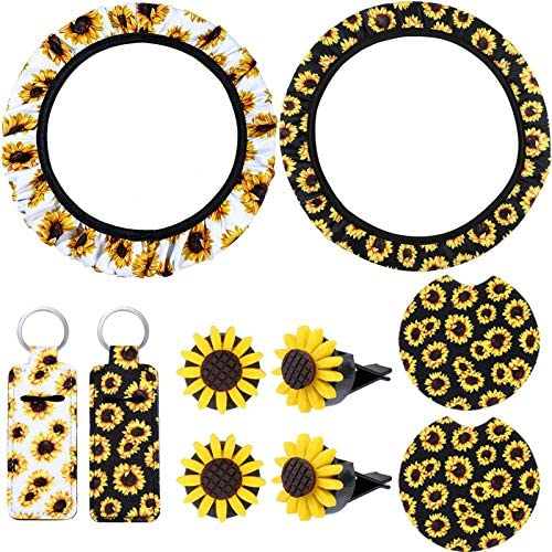 10 Pieces Sunflower Car Accessories Set Includes 2 Pieces Steering Wheel Cover, 2 Pieces Sunflowers Keyrings, 2 Pieces Car Cup Holder Coaster and 4 Pieces Car Vent Clips for Car Decoration