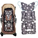 Stroller Liner Insert Thick Padding, Reversible Cotton Cushion Universal for Baby Carrier pram,Non Slip, by DODO NICI Grey Star