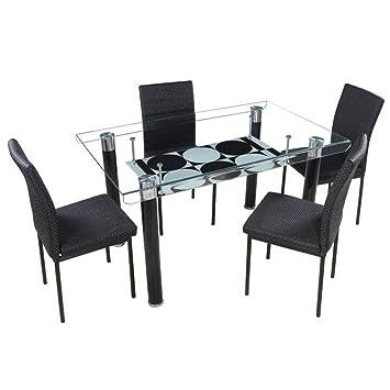 Woodness Elita Glass 4 Seater Dining Table Set (Black)