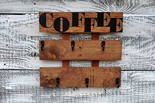 Rustic Pallet Wood Coffee Cup Rack 6 Mug Holder Wall Mounted Kitchen Storage (Lodge Cup)