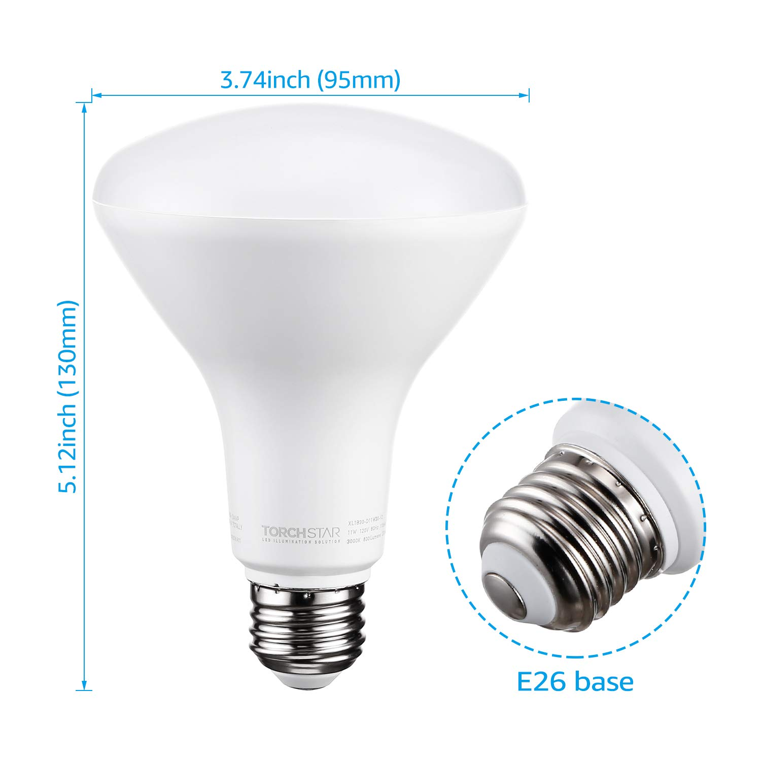 Pack of 6 E26 Base 800 Lumens 11W Energy Star JA8 and CEC3.0 Certified TORCHSTAR Dimmable LED BR30 Flood Light Bulb UL 65W Equivalent 3 Years Warranty 3000K Warm White CRI90+