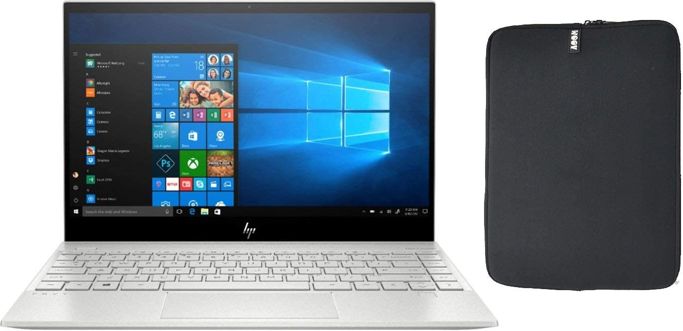 "2020 HP Envy 13.3"" 4K UHD IPS Touchscreen Premium Laptop PC, Intel Quad-Core i7-1065G7, 8GB RAM, 256GB SSD, Backlit Keyboard, Fingerprint Reader, Windows 10 Home, w/ WOOV Accessory Bundle"