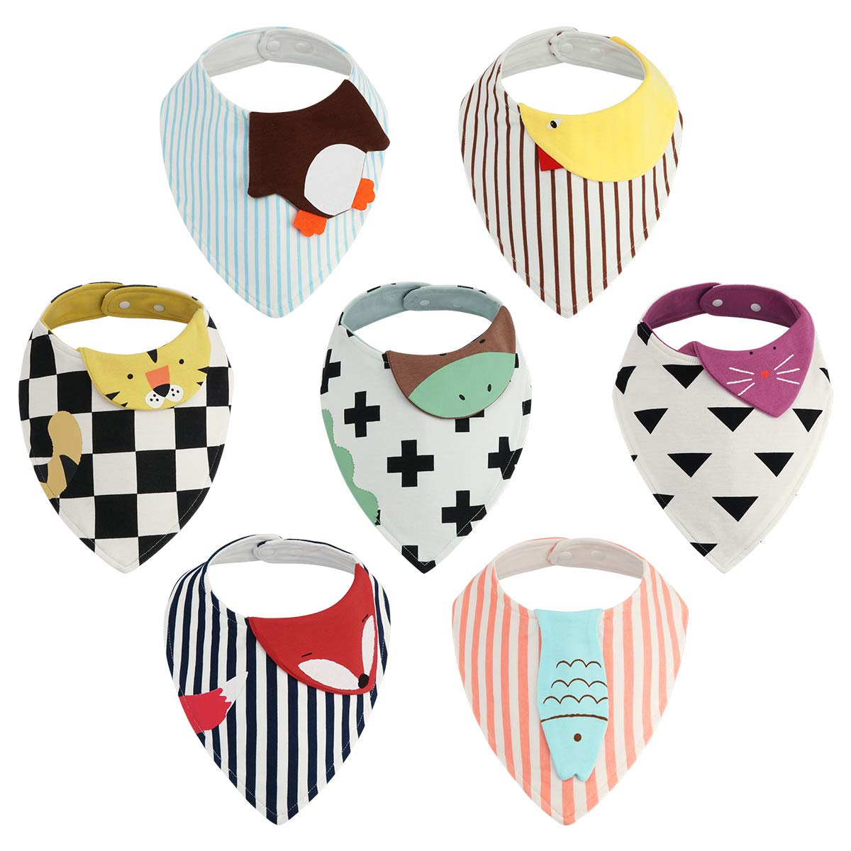 Baby Bandana Drool Bibs - 7 Pack Kirecoo Unisex Baby Bibs for Drooling and Teething, 100% Organic Cotton and Super Absorbent Cartoon Animal Bibs with Storage Bag for Baby Boys, Girls, Baby Shower Gift by Kirecoo