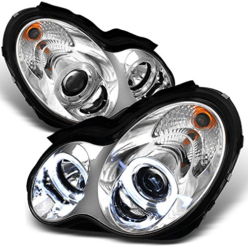 For 2001-2007 Benz W203 C-Class 4Doors Sedan Wagon Chrome Clear LED [Dual Halo Projector] Projector Headlights LH+RH (Mercedes C-class Sedan)