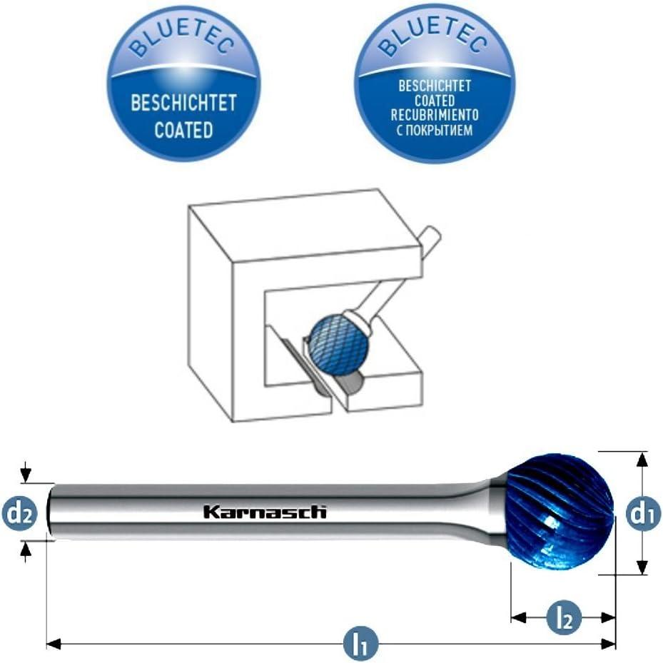 l1=38mm l2=2,5 d2=3 VHM Fr/ässtift Fr/äser Blue-Tec beschichtet f/ür Titan Inconel KUD Kugelform HP-1 /Ø=3