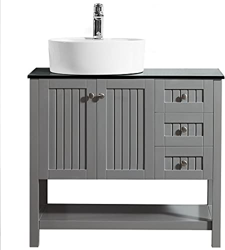 Vinnova 756036-GR-BG-NM Sturdy Mode 36 Vanity In With Glass Countertop With White Vessel Sink Without Mirror, Grey