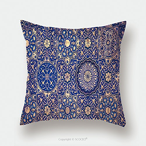 Custom Satin Pillowcase Protector Gold And Blue Ceiling In A Muslim Mosque Islamic Traditional Religious Ornament 382581241 Pillow Case Covers Decorative by chaoran