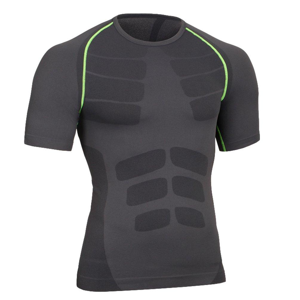 YiJee Asciugatura Veloce Maglietta di Compressione Maniche Corte Sportivi Fitness T-Shirt Uomo