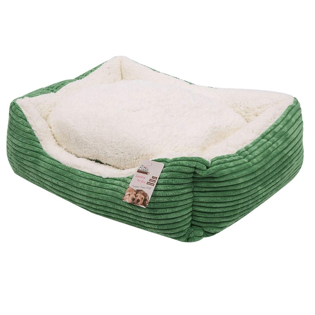 GREEN M (61X48X18CM) GREEN M (61X48X18CM) Hongyan Pet Beds Square Green All Removable And Washable Thick Warm Four Seasons Universal Pet Nest Cat Litter Dog Supplies A+ (color   GREEN, Size   M (61X48X18CM))
