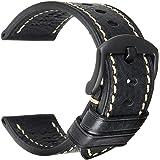 REZERO Handmade Genuine Leather Watch Band, 18mm 19mm 20mm 21mm 22mm 23mm 24mm 26mm Leather Watch Strap Stainless Steel Deplo