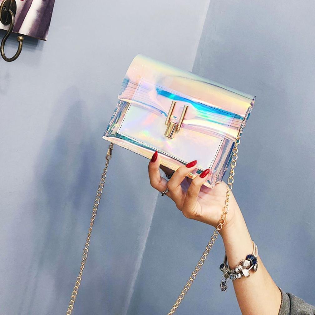 Clearance Women Bags JJLOVER Laser Transparent Crossbody Bags Messenger Shoulder Bag Beach Bag
