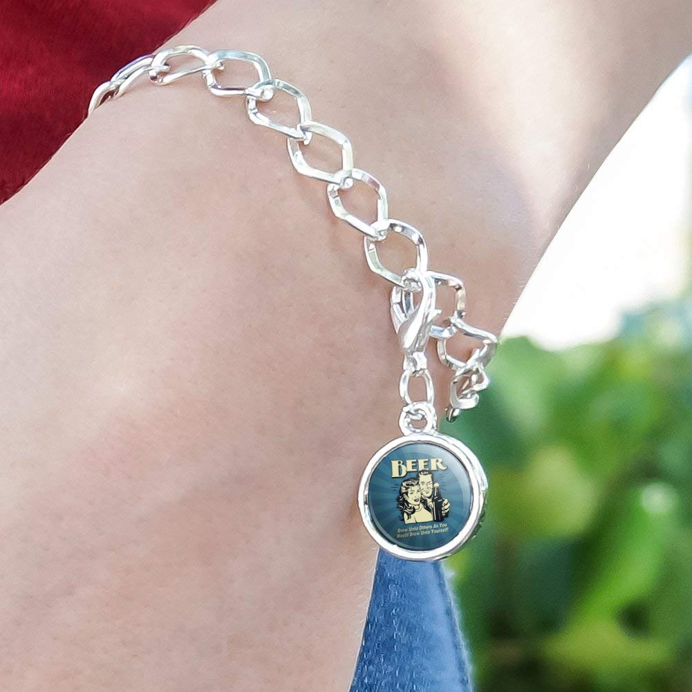 GRAPHICS /& MORE Beer Brew Unto Others As You Would Yourself Funny Humor Silver Plated Bracelet with Antiqued Charm
