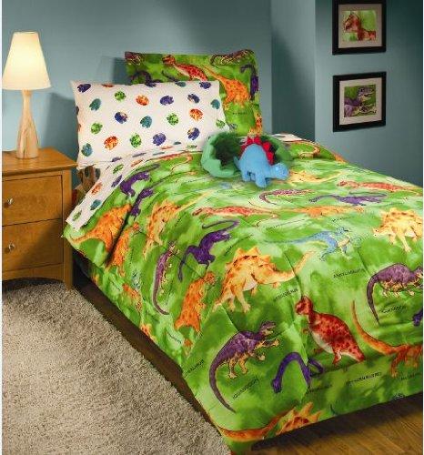 Amazon.com: Crayola Dinosaur Green Boys TWIN 3 Piece Comforter Bedding Set:  Kitchen U0026 Dining