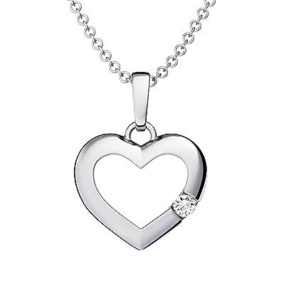 Herzkette Silber 925  Ich liebe Dich  Etui Kette mit Anhänger Damen-Kette  Zirkonia Stein Echt-Silber Herz-Anhänger Echt-Schmuck Geschenk für Freundin  ... 43f1f9ce24